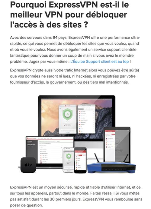 Débloquer site avec ExpressVPN