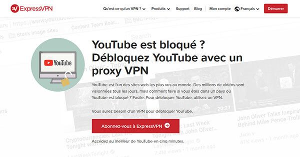 YouTube et ExpressVPN