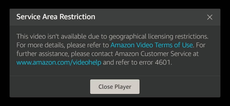 Message d'erreur Amazon Prime Video