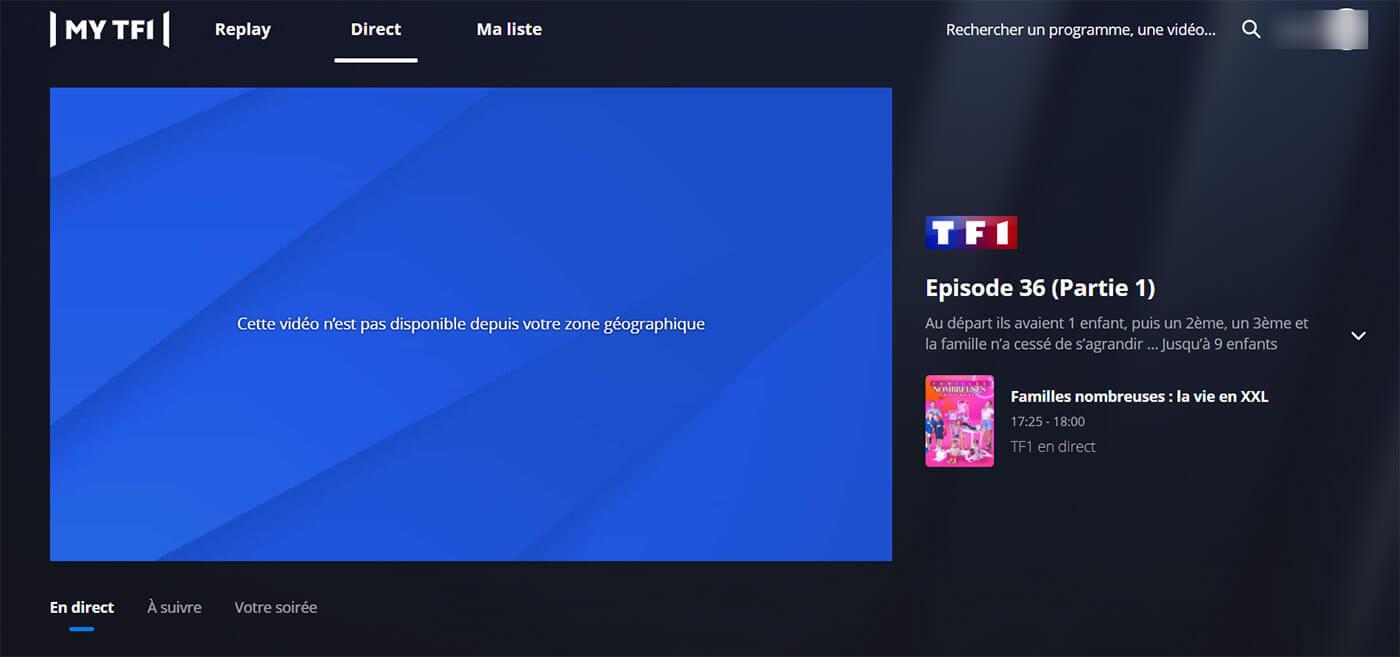Blocage accès direct TF1 étranger