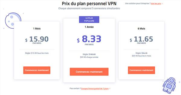 Tarification Astrill VPN