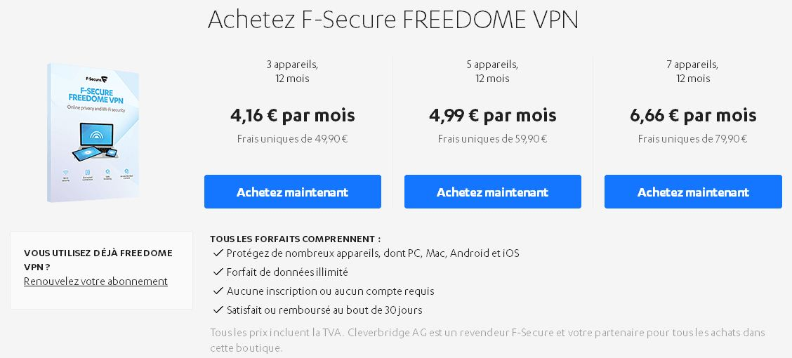 tarifs f-secure freedome vpn