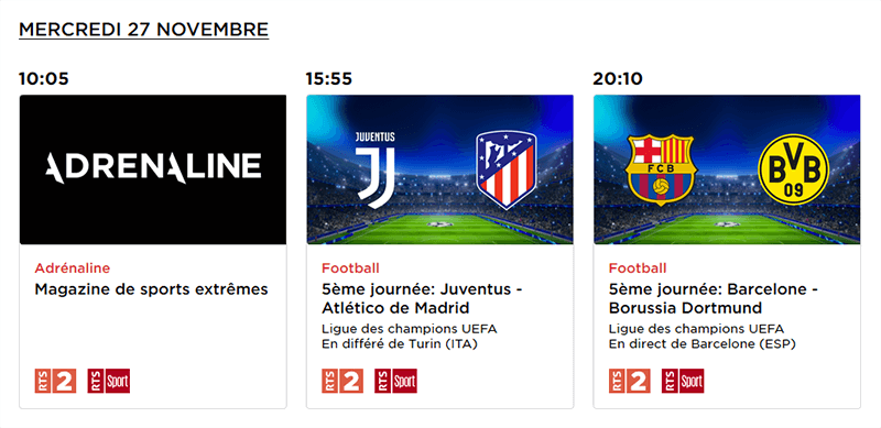 Programme RTS Barcelone Dortmund
