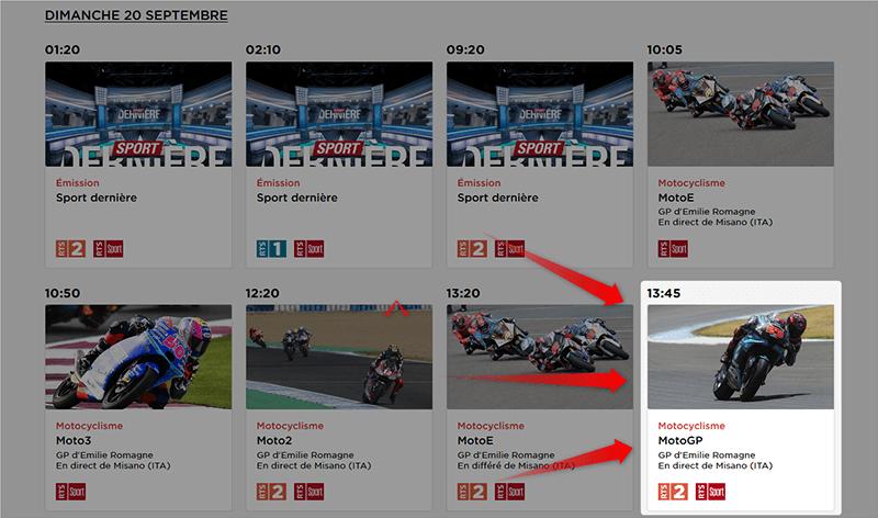 Programme MotoGP Emilie Romagne GP RTS