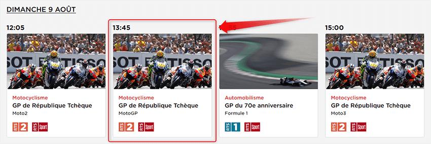 Programme RTS MotoGP République Tchèque