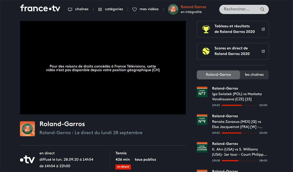 Message erreur Roland Garros France TV