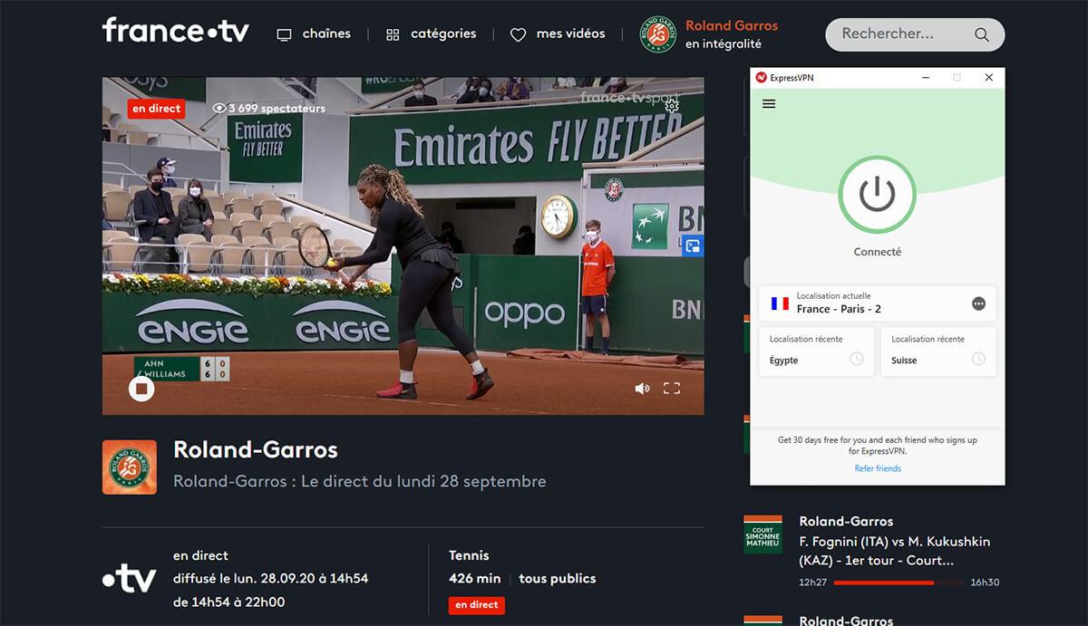 Regarder Roland Garros étranger ExpressVPN