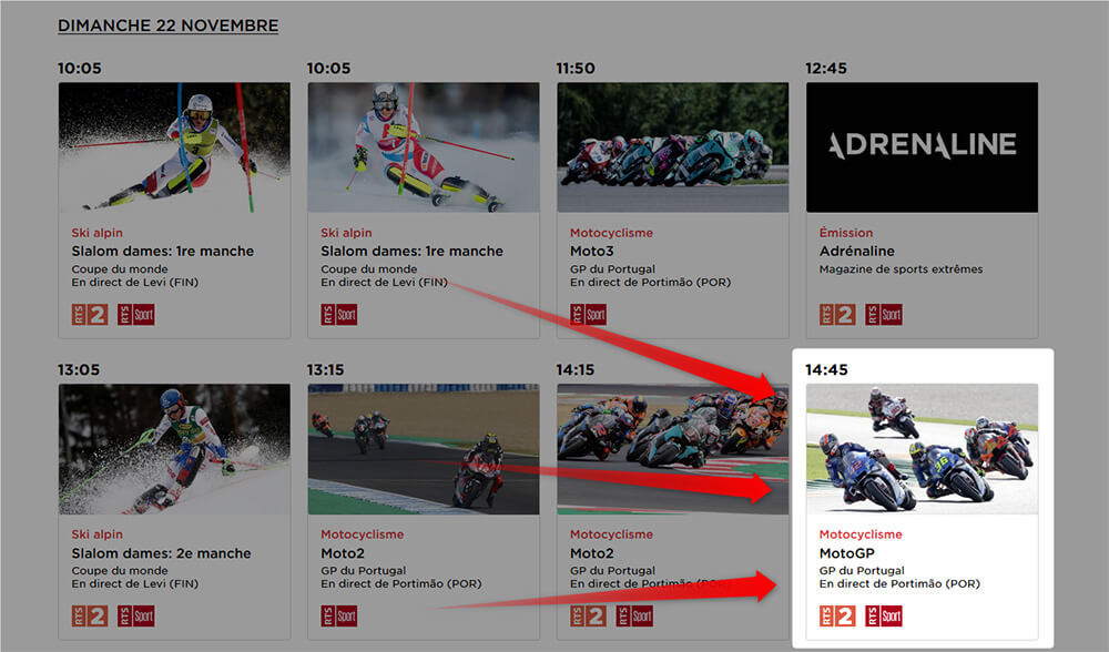 Programme RTS GP Portugal MotoGP