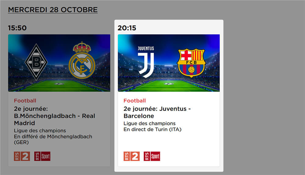 Programme RTS Juventus Barcelone LDC