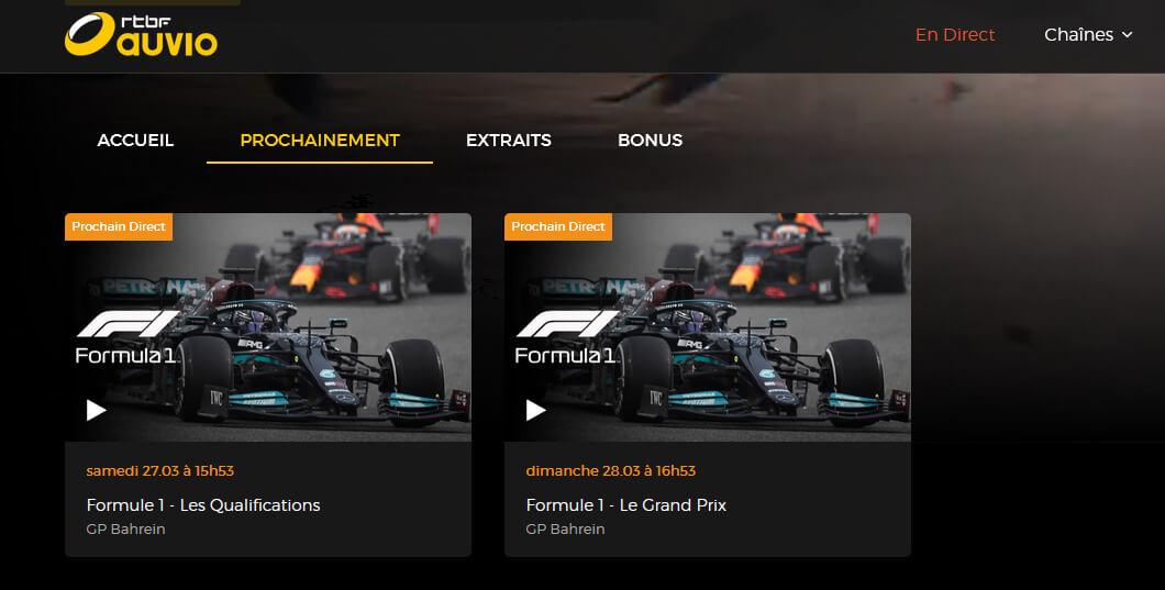 Programme TV RTBF Formule 1 GP Bahrein