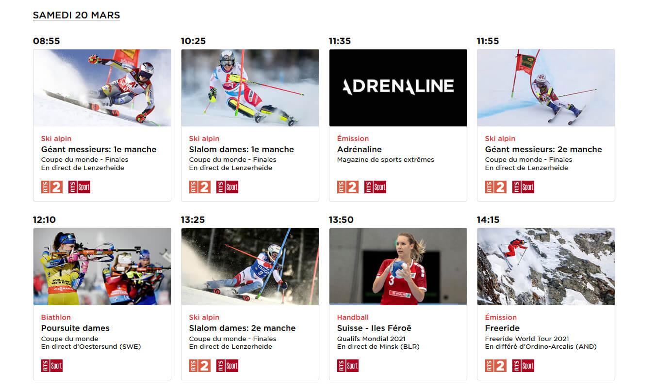 Programme TV RTS Ski Alpin 20 Mars