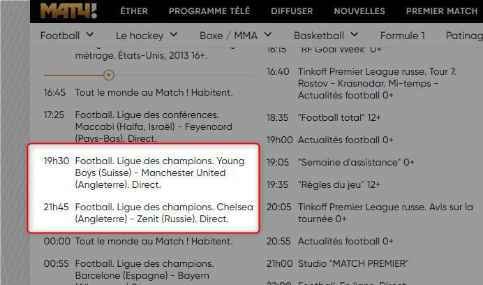 Programme TV Ligue des Champions MatchTV