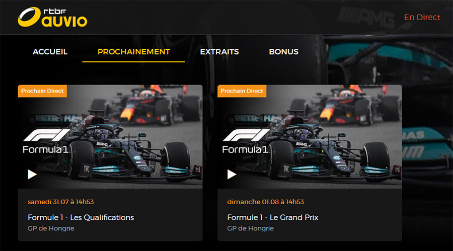 Programme TV RTBF GP F1 Hongrie