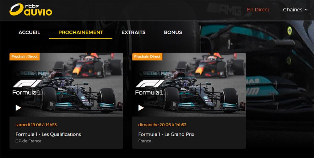Programme TV RTBF GP France F1