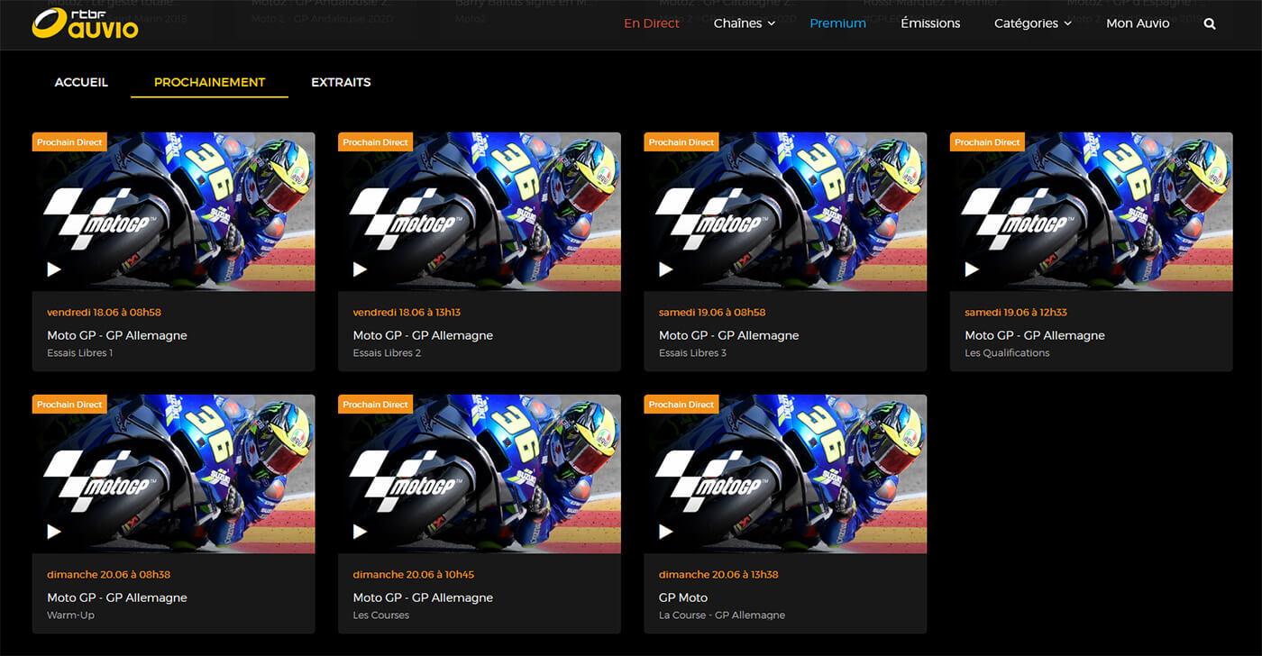 Programme TV RTBF MotoGP GP Allemagne